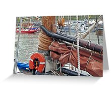 LK243 Swan, gaff yoke, sail/mast hoops Greeting Card
