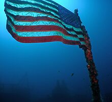 Old Glory on a Sunken Wreck by Brent Barnes