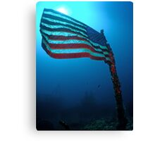 Old Glory on a Sunken Wreck Canvas Print