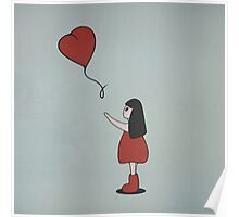 Girl with a Heart Shaped Balloon Poster