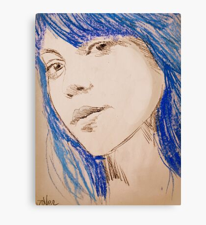the girl with blue hair Canvas Print