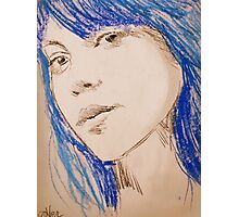 the girl with blue hair Photographic Print