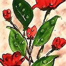 Dew drops on my roses, watercolor by Anna  Lewis