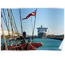 Queen Mary 2 & STS Leuwin II Poster