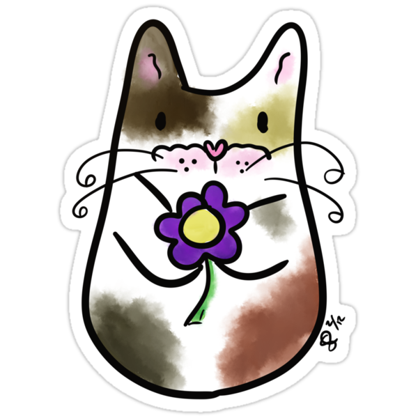 Calico Kitty with Flower by calicocatfood