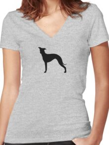 Italian Greyhound Silhouette(s) Women's Fitted V-Neck T-Shirt
