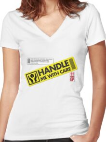 Handle With Care Women's Fitted V-Neck T-Shirt