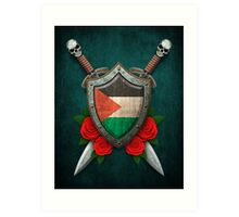 Palestinian Flag on a Worn Shield and Crossed Swords Art Print