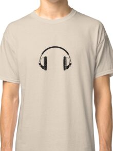 Headphones - Black Line Art - No Cord Classic T-Shirt