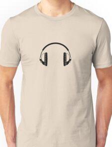 Headphones - Black Line Art - No Cord Unisex T-Shirt