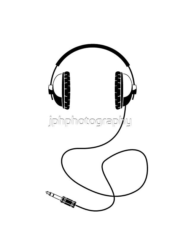 Line Art Headphones : Quot headphones black line art with cord stickers by
