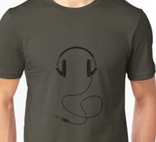 Headphones - Black Line Art - With Cord Unisex T-Shirt