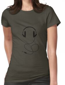 Headphones - Black Line Art - With Cord Womens Fitted T-Shirt