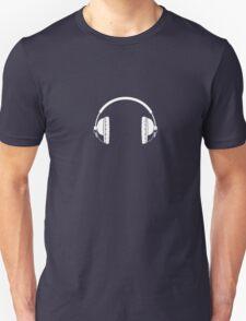 Headphones - White Line Art - No Cord Unisex T-Shirt