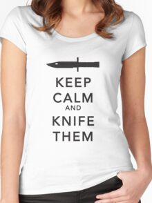 Keep calm and knife them black version Women's Fitted Scoop T-Shirt