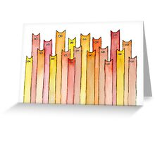 Cats Pattern Autumn Colors Greeting Card