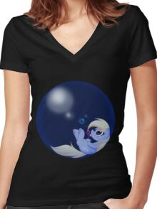 Derp Bubble Women's Fitted V-Neck T-Shirt