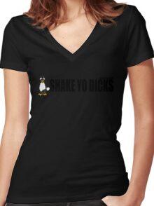 Shake Yo Dicks - Penguin - Black Women's Fitted V-Neck T-Shirt