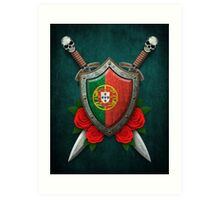 Portuguese Flag on a Worn Shield and Crossed Swords Art Print