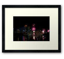 Brisbane City Fireworks Framed Print