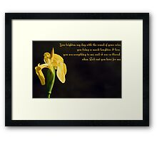Yellow Iris & Poem Framed Print