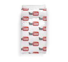 YouTube Full Logo - Red on White Duvet Cover