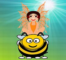 Golden Fairy and Her Pet Bee iPhone Case by Dennis Melling