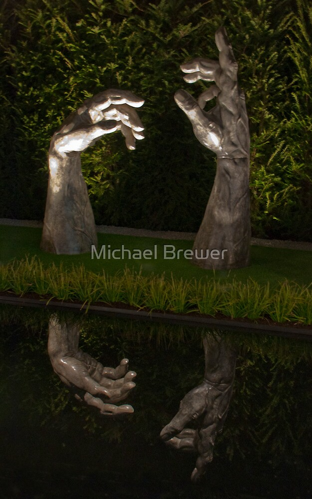 Reflecting hands sculpture seen at the Zurich Garden Show, Switzerland by Michael Brewer