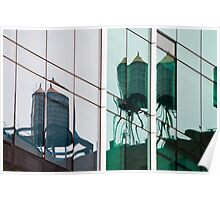 Water tower reflections Poster