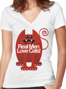 REAL MEN LOVE CATS Women's Fitted V-Neck T-Shirt