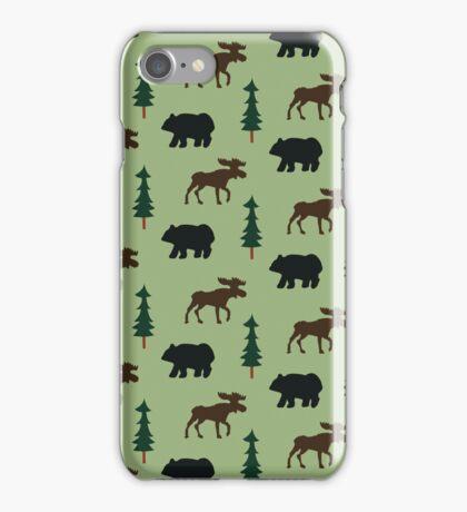 Woodland Moose and Black Bear Case - Green iPhone Case/Skin