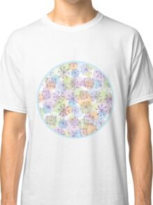 pattern with purple snowflakes on light background Classic T-Shirt