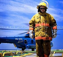 Fireman on Rig by Kai Offshore Photography