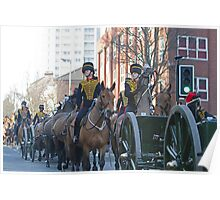 The King's Troop Royal Horse Artillery  parading to their new barracks. Poster
