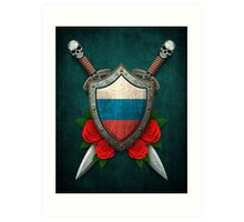 Russian Flag on a Worn Shield and Crossed Swords Art Print