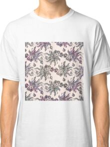 purple vintage floral seamless pattern with hand drawn flowering crocus Classic T-Shirt