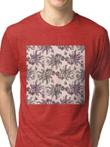 purple vintage floral seamless pattern with hand drawn flowering crocus Tri-blend T-Shirt