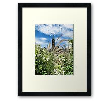Decorative Fountain Grass & White Flowers in front of the Peace Tower, Parliament Hill, Ottawa, Canada Framed Print