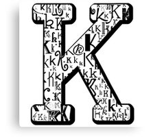 The Letter K, white background Canvas Print