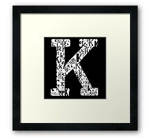 The Letter K, black background Framed Print