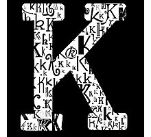 The Letter K, black background Photographic Print