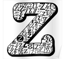 The Letter Z, white background Poster