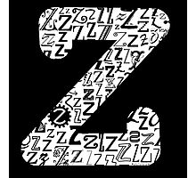 The Letter Z, black background Photographic Print