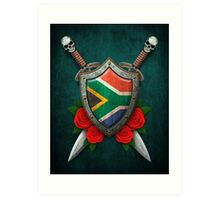 South African Flag on a Worn Shield and Crossed Swords Art Print