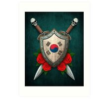 South Korean Flag on a Worn Shield and Crossed Swords Art Print