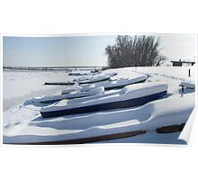 Snowy Boats Poster