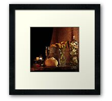 Bread, Butter, White Wine and Calla Lily Framed Print