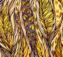 Autumn Dreams.Hand draw  ink and pen, Watercolor, on textured paper Sticker