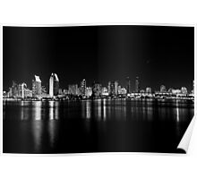 San Diego skyline in black and white. Poster