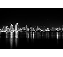 San Diego skyline in black and white. Photographic Print